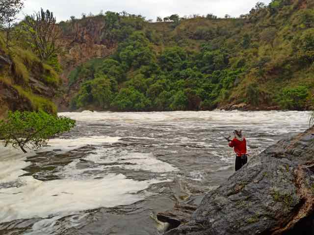 Lure fishing the falls at White Nile River